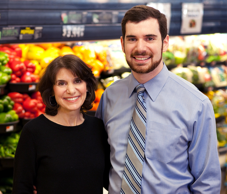 mother and son in grocery store